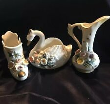 Vintage Mini Ceramic Boot Swan And Pitcher With Floral Ceramic Design