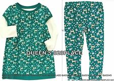 Nwt Crazy 8 Girls 18-24 Months Green Floral Dress Leggings 2p Set Outfit Twins