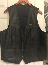 Harley-Davidson Leather Vest Size 46 w/Owners Group Pin MUST HAVE IT!