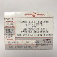 Van Halen Metallica Buffalo Memorial Auditorium NY Concert Ticket Stub July 1988