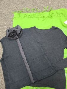 Eileen Fisher knit zip vest and ribbed merino wool top Set XL
