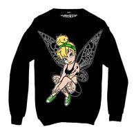 Twisted Apparel Inkerbelle Tattoo Black Sweatshirt Top emo gothic punk disney
