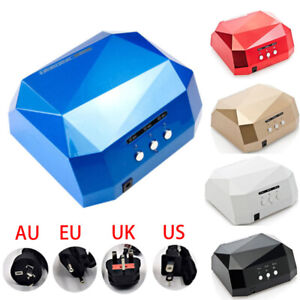 36W LED CCFL Nail Dryer For UV Nail Polish Diamond Shape Curing Machine New