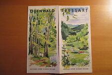 altes Reiseprospekt Odenwald Spessart um 1955 ,auffaltbar