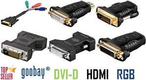 Divers DVI Adaptateur Dvi-D 12 + 5 RGB 24+1 HDMI 24+5 VGA Contacts Dorés Goobay