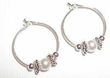 Baby Child Girl Hoop Earrings: Snow White Pearl & Silver made w Swarovski Elem.