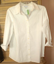 NWT FRESH PRODUCE Women's Stretch Poplin Slightly Fitted Blouse Top White L