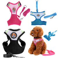 Pet Dog Soft Mesh Small Vest Harness Puppy Breathe Collar Walk Leash Lead Strap
