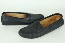 Vintage Minnetonka Womens 8 N Black Textured Leather Driving Moc Shoes Moccasin