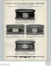 1934 PAPER AD Elgin Waltham Wrist Watch 17 15 Jewel Rectangle Face