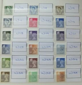GB. Wales. 18 Different values. MNH.