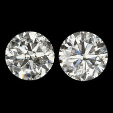 2.11 NATURAL ROUND DIAMOND F COLOR VG CUT MATCHED PAIR STUD EARRINGS 2ct 2 CARAT