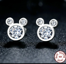 100% 925 Sterling Silver Studs Dazzling Mickey Mouse CZ Stud Earrings + Gift Bag