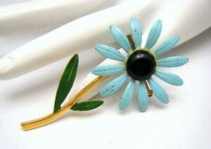Vintage Enamel Flower Power Brooch Blue Daisy Gold Tone