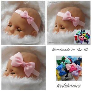 Baby Headband with Bow (4, 5 or 7cm) Soft elastic Xmas Newborn - 2yr sizes UK