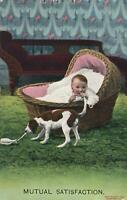 1910 BABY SUCKING DOGS TAIL, DOG SUCKS BABYS BOTTLE POSTCARD FASCINATING MESSAGE