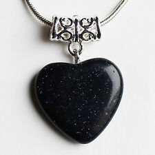 Semi-Precious Heart Stone Pendant on Silver Chain - Dark Blue Goldstone