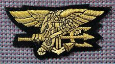"Navy Seal Trident Bullion Patch 4""x2"" Dress Wire"