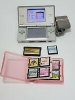 Nintendo USG001 DS Lite Silver w/Charger,Memory expansion pak. 12 Games