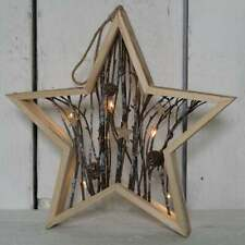 Rustic Wooden LED Twig & Pine Cone Hanging Star Christmas Wreath Fall Decoration