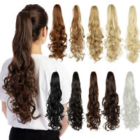 AU Clip in Claw on Ponytail Wavy/Curly Long Hair Extensions As Human Hair NY