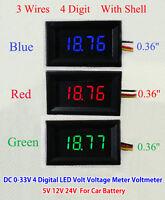 LED 4-Bit DC 0-33v Digital Voltmeter Voltage Panel Meter 5v 12V 24v Car Battery