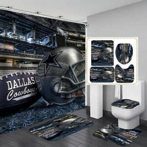 Dallas Cowboys 4PCS Bathroom Rugs Set Shower Curtain Bath Mat Toilet Lid Cover