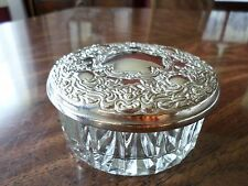 Glass  Powder Jar with Silver Mirrored Lid