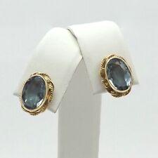 14K Gold 2.4ctw Blue Topaz December Birthstone Rope Edge Stud Earrings 2.4 grams
