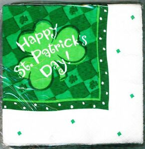 HAPPY ST PATRICK'S DAY LUCKY SHAMROCK 24 BEVERAGE NAPKINS PARTY EXPRESS HALLMARK