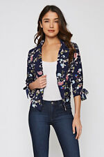 S M L Spring Floral Lightweight Women Jacket Work Blazer Blue Pink Yellow White