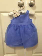 NWT $99 Janie and Jack Special Occasion Blossom Organza Dress, 6-12 Months, Blue