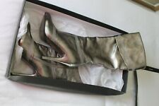 *RARE* Aldo Pewter/Silver Leather Knee Boots Size 7/40 RRP £150