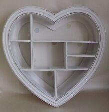 White Heart Shape Wooden Decorative Wall Storage Display Shelf Unit  40 x 40 cm