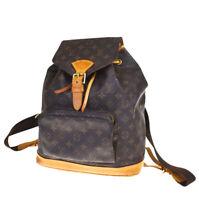 Auth LOUIS VUITTON Montsouris GM Backpack Bag Monogram Leather M51135 98MC986