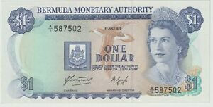 Bermuda 1 Dollar Banknote 1.7.1975 Choice About Uncirculated Pick#28-A Free Ship