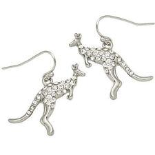 Kangaroo Fashionable Earrings - Fish Hook - Sparkling Crystal - 2 Colors
