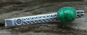 VINTAGE STERLING SILVER 925 MALACHITE TIE BAR CLASP 42.5x4.2mm (J2F)