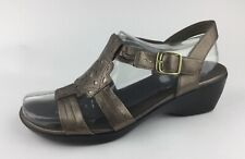 Clarks Bendables Womens Gold Leather Ankle Strap Sandals Sz US 9.5