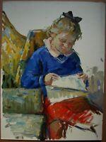 Russian Ukrainian Soviet Oil Painting Portrait impressionism child girl 1950s