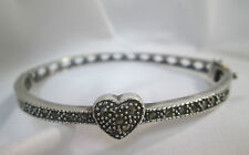 Marcasite studded heart and diamond hinged bangle Bracelet Sterling Silver 7""