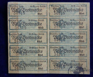 alte Deutsche Lebensmittelmarke Reise Brotmarke groß