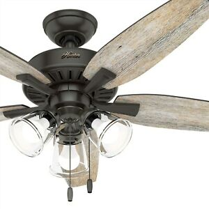 Hunter Fan 48 inch Casual Noble Bronze Indoor Ceiling Fan with Light Kit