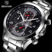 2018 Top Brand BENYAR Chronograph Quartz Stainless Steel Wrist Watch Luxury Men