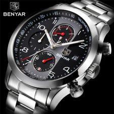 2018 Top Brand BENYAR Chronograph Quartz Stainless Steel Wrist Watch Luxury Men