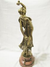 Antique French Art Nouveau Bronze Dancing Nude Lady Statue w/ Marble Base