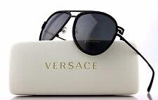 NEW Authentic VERSACE Black Diamonte Crystal Aviator Sunglasses VE 2171B 1256 87