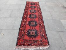 Old Hand Made Traditional Afghan Oriental Wool Red Brown Runner 284x86cm