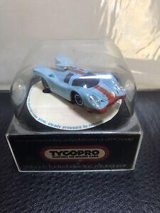 Tyco-Pro Porsche 917 Gulf Slot Car Light Blue w/Orange #8810 Chassis NEW in CASE
