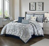 Lanco Saundra 7-Piece Reversible Comforter Bedding Set Cal King Queen